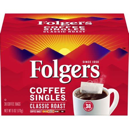 Folgers coffee is common in most offices and households. Folgers Coffee Classic Roast Singles - 38 ct-1164-2