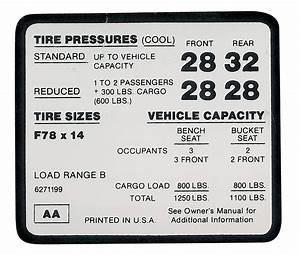 Tire Pressure Chart 1972 Tire Pressure Decal El Camino Ss F78 X 14 Tire Aa