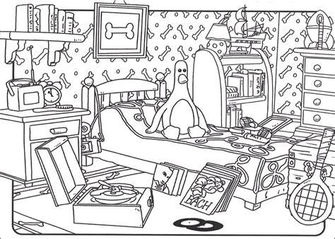 dessin de chambre coloriage a imprimer wallace et gromit la chambre gratuit
