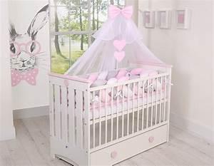 Bettwäsche Für Babybett : nestchenschlange f r kinderbett xxl weiss grau rosa zopf ~ Watch28wear.com Haus und Dekorationen