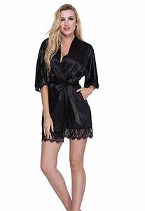 sexy bridesmaid short satin bride robe lace kimono women With robe femme sexy