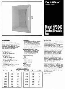 Constant-directivity Horn Hp9040 Manuals