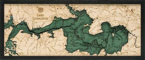 Map of lake livingston fishing. Lake Livingston Wood Carved Topographic Depth Chart / Map ...