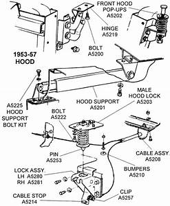1953-57 Hood Parts - Diagram View