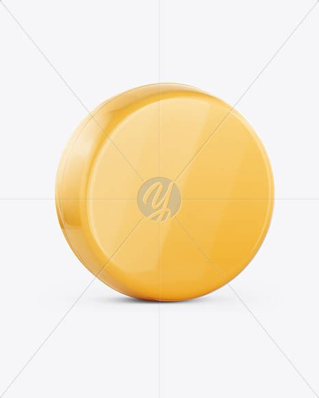 The item is presented in a top view. Cheese Wheel Mockup in Packaging Mockups on Yellow Images ...