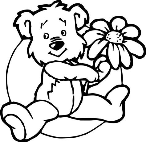 Cute Flower Bear Coloring Page See the category to find