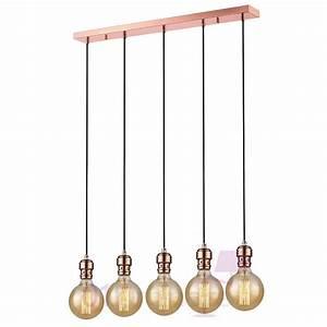 Suspension Ampoule Vintage : suspension oros cuivre barre 5 lumi res ampoule e27 592653 market set ~ Dode.kayakingforconservation.com Idées de Décoration