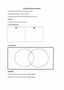 Hcf And Lcm Using Venn Diagrams Worksheet By Pascale R