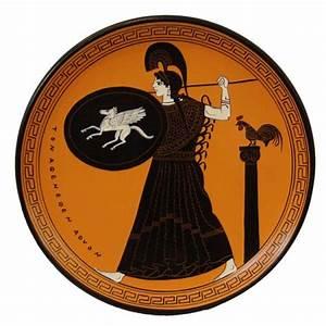 black-figure plate: Athena with 'Pegasus shield ...