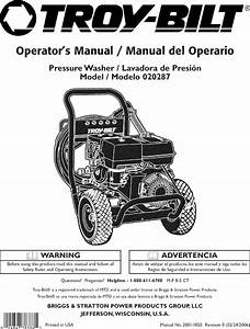 Troybilt 020287 User Manual Pressure Washer Manuals And