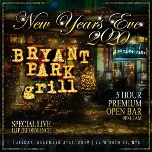 New Years Eve at Bryant Park Grill | NYC New Years Eve 2021