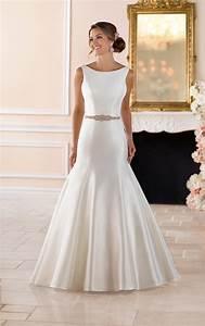 boat neck wedding dress with deep v back stella york With boatneck wedding dress