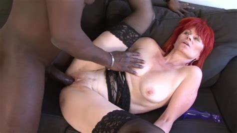 Black Model With Redhead Red  Offering Ebony Prick Her