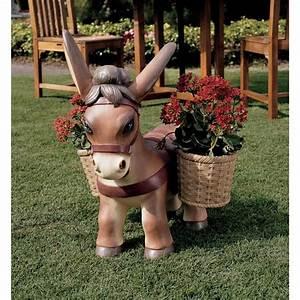 22, 5, Donkey, Sculpture, Flower, Planter, Statue