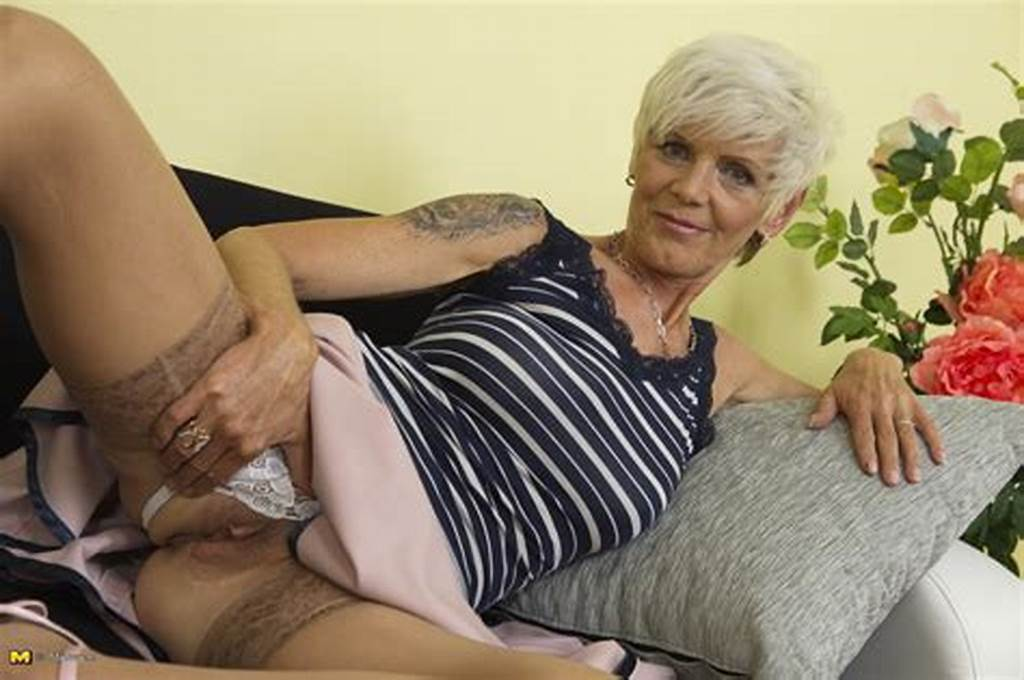 #British #Granny #With #Tattoos #Strips #To #Tan #Stockings #Before